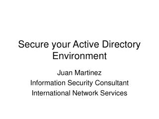 Secure your Active Directory Environment