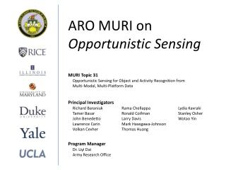 ARO MURI on Opportunistic Sensing