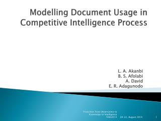 Modelling Document Usage in Competitive Intelligence Process