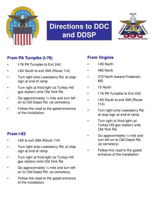 Directions to DDC and DDSP