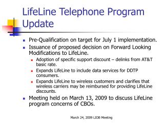 LifeLine Telephone Program Update