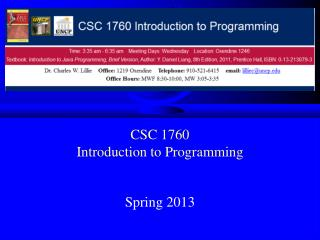 CSC 1760 Introduction to Programming