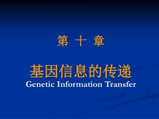 第 十 章 基因信息的传递 Genetic Information Transfer