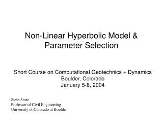 Non-Linear Hyperbolic Model  Parameter Selection