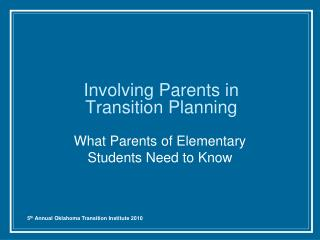 Involving Parents in Transition Planning
