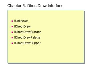 Chapter 6. DirectDraw Interface