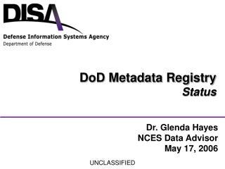 DoD Metadata Registry Status