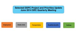 Selected DDPC Project and Priorities Update June 2014 SRC Quarterly Meeting
