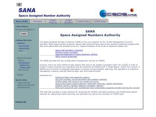 SANA Space Assigned Numbers Authority