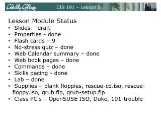 CIS 191 – Lesson 5