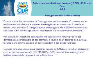 Police des installations classées (ICPE) - Police de l'eau ARS Forages soumis à déclaration