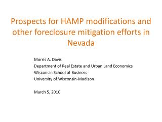 Prospects for HAMP modifications and other foreclosure mitigation efforts in Nevada