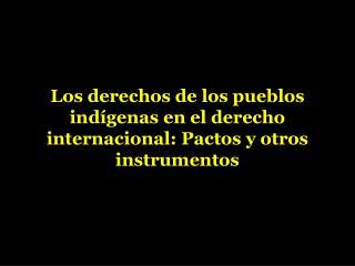 Los derechos de los pueblos ind�genas en el derecho internacional: Pactos y otros instrumentos