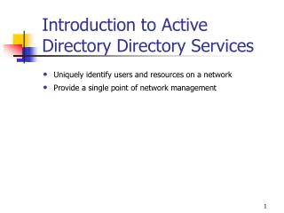 Introduction to Active Directory Directory Services