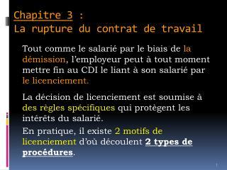 Chapitre 3 : La rupture du contrat de travail