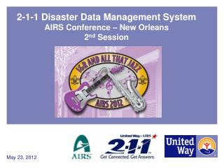 2-1-1 Disaster Data Management System AIRS Conference – New Orleans 2 nd  Session
