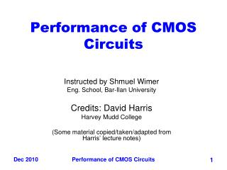 Performance of CMOS Circuits