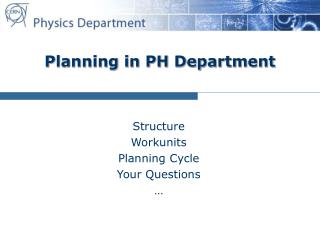 Planning in PH Department