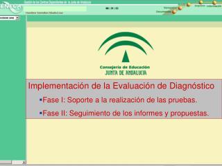 Implementación de la Evaluación de Diagnóstico   Fase I: Soporte a la realización de las pruebas.