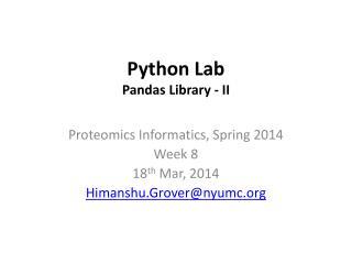 Python Lab Pandas Library - II