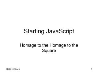 Starting JavaScript