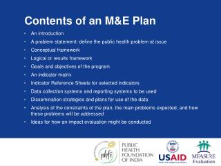 Contents of an M&E Plan