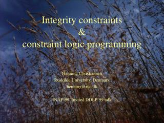 Integrity constraints & constraint logic programming