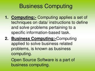 Business Computing