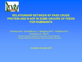 RELATIONSHIP BETWEEN BY PASS CRUDE PROTEIN AND N-ADF IN SOME GROUPS OF FEEDS FOR RUMINANTS