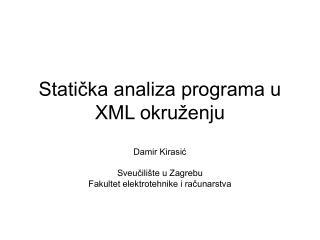 Statička analiza programa u XML okruženju