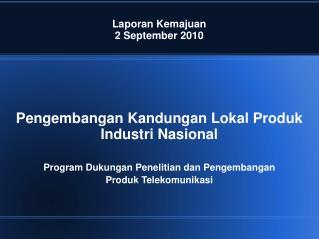 Laporan Kemajuan 2 September 2010