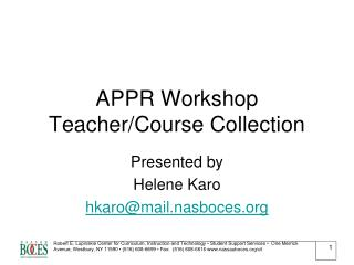 APPR Workshop Teacher/Course Collection