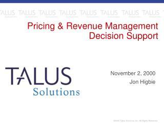 Pricing  Revenue Management Decision Support