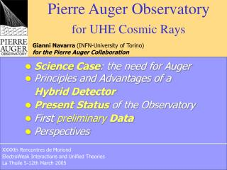 Pierre Auger  Observatory for UHE Cosmic Rays