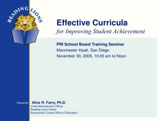 Effective Curricula for Improving Student Achievement