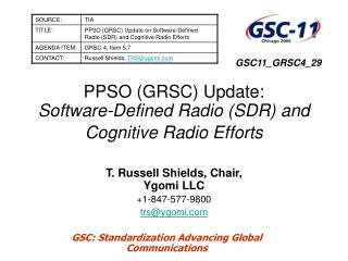 PPSO (GRSC) Update: Software-Defined Radio (SDR) and Cognitive Radio Efforts