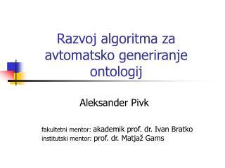 Razvoj algoritma za  avtomatsko generiranje  ontologij