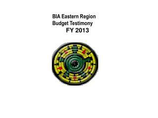 BIA Eastern Region Budget Testimony         FY 2013