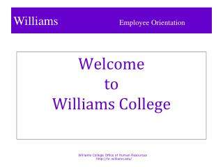 Welcome  to Williams College