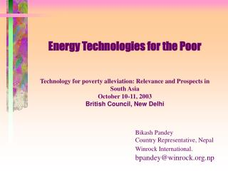 Where do the poor in South Asia get their energy from