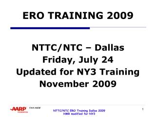 ERO TRAINING 2009