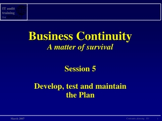 BUSINESS CONTINUITY PLANNING IN THE PUBLIC SECTOR