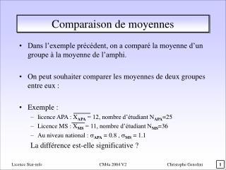 Comparaison de moyennes
