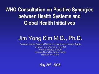 WHO Consultation on Positive Synergies between Health Systems and  Global Health Initiatives