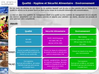 Qualit� - Hygi�ne et S�curit� Alimentaire - Environnement