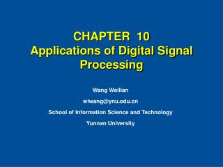 CHAPTER  10  Applications of Digital Signal Processing