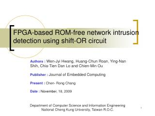 FPGA-based ROM-free network intrusion detection using shift-OR circuit