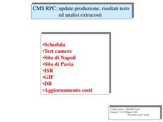CMS RPC: update produzione, risultati tests         ed analisi extracosti