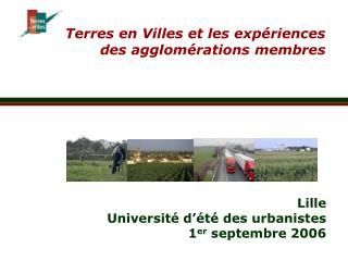 Terres en Villes et les expériences des agglomérations membres
