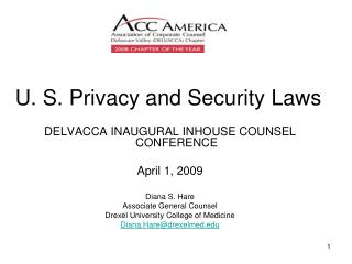 U. S. Privacy and Security Laws